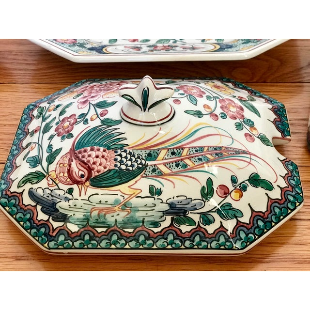 Hand Painted Ceramic Lidded Tureen With Under Plate & Ladle For Sale - Image 4 of 12