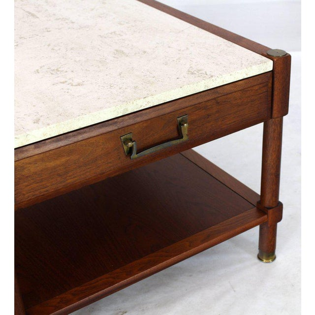 Pair of Travertine Tops One Drawer Oiled Walnut End Side Tables For Sale - Image 9 of 13