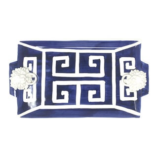 Greek Key Rectangle Tray with Lions Heads in Navy For Sale