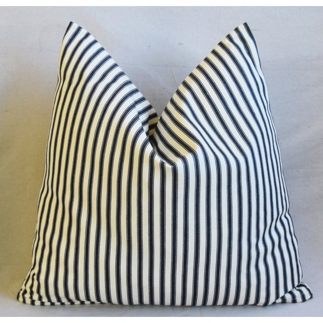 """Early 21st Century French Black & White Striped Ticking Feather/Down Pillows 23"""" Square - Pair For Sale - Image 5 of 10"""