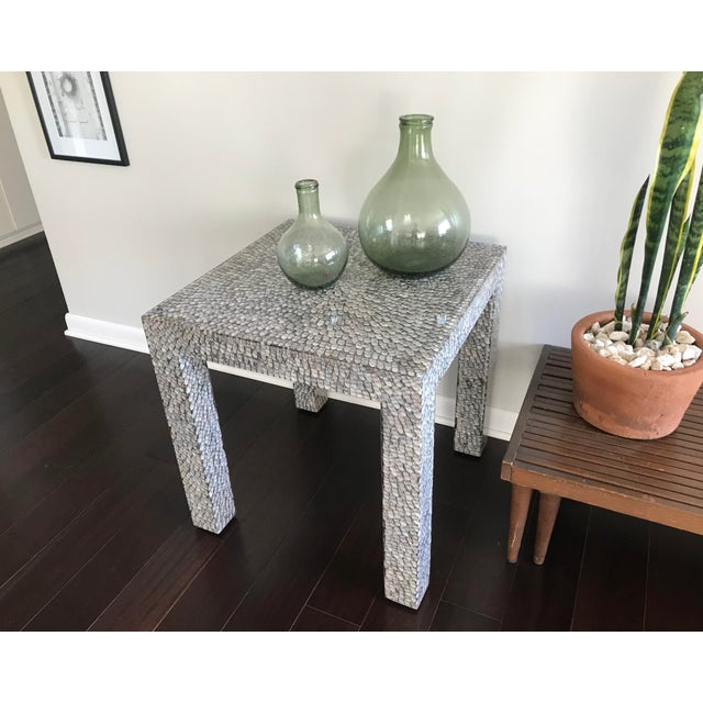 Contemporary Made Goods Vertagus Shell Inlay Parsons Side Table For Sale - Image 9 of 13
