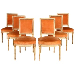 Parisian Louis XVI Peach Velvet Upholstered Dining Chairs - Set of 6 For Sale