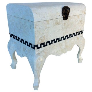 Final Markdown- Vintage 1980's Maitland Smith Tessellated Footed Standing Chest With Greek Key Design For Sale