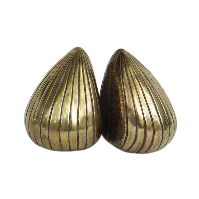Gold 1950s Vintage Ben Seibel Jenfred-Ware Brass Clam Bookends - A Pair For Sale - Image 8 of 8
