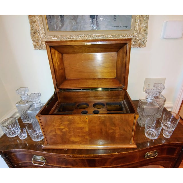 Metal Wiltshire of Winchester Mahogany Liquor Chest With Cut Glassware - 12 Piece Set For Sale - Image 7 of 7