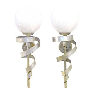 "Pair of Silver-Leaf ""Torch"" Sconces For Sale"
