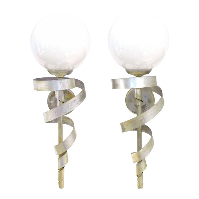 """Pair of Silver-Leaf """"Torch"""" Sconces For Sale"""