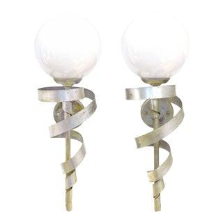"Silver-Leaf ""Torch"" Sconces - a Pair For Sale"