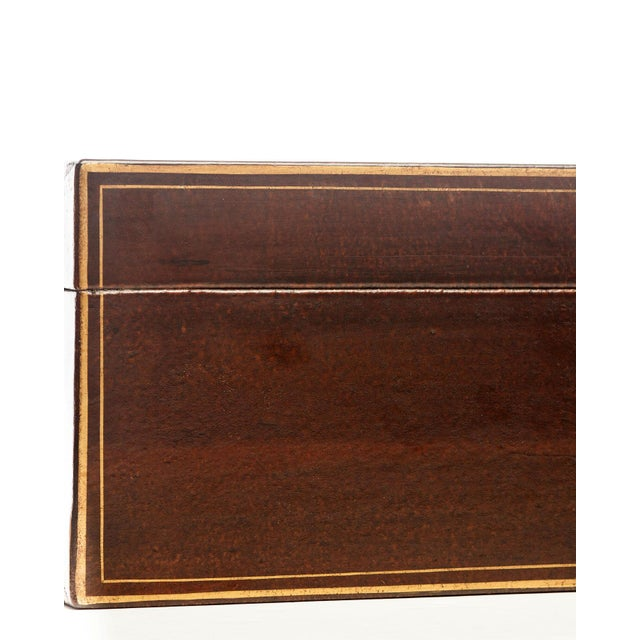 Modern Lawrence & Scott Regalia Leather Box in Mahogany With Brass Stand as Side Table For Sale - Image 3 of 11