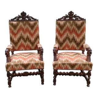 19th Century Oak Barley Twist Hunt Armchairs - A Pair For Sale