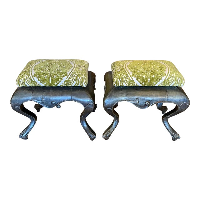 Antique 19c Carved Venetian Stools - a Pair For Sale