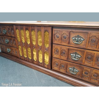 Vintage 1968 Spanish Style Ornate Triple Dresser With Interchangeable Velvet Panels Preview