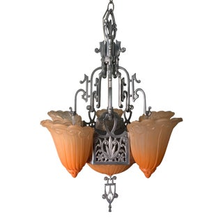 Art Deco Slip Shade Chandelier For Sale