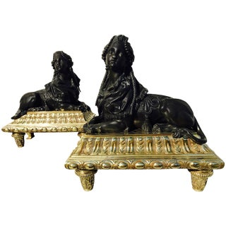 Pair of Bronze Chenets For Sale