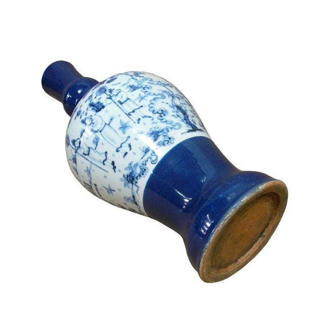 Chinese Porcelain Scenery Painted Blue Vase For Sale - Image 5 of 6