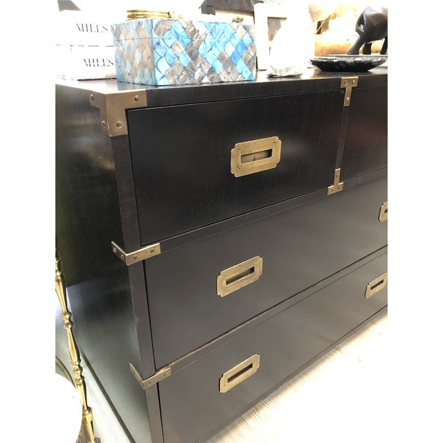 Metal Late 20th Century Black Campaign Style Wide Dresser For Sale - Image 7 of 13