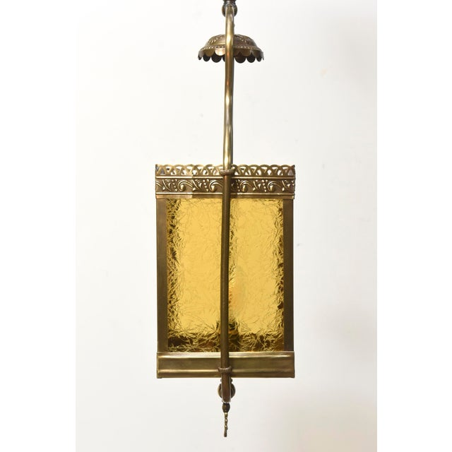 Metal Victorian Harp Lantern with Amber Glass For Sale - Image 7 of 11