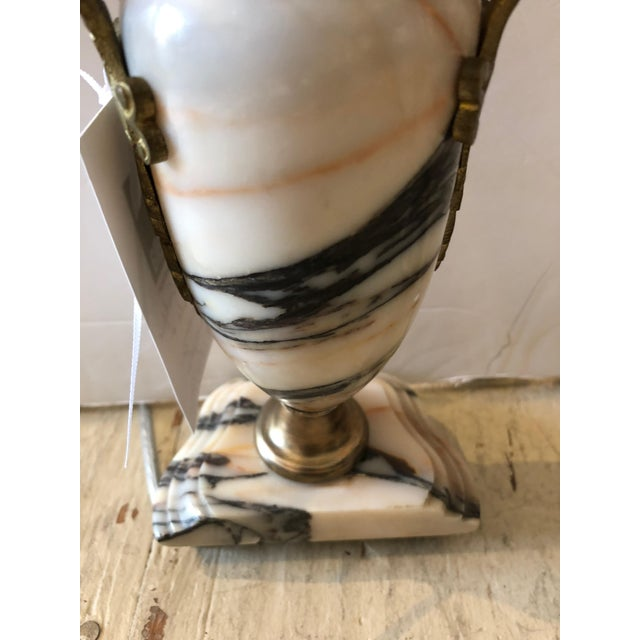 Truly Elegant Antique Carrara Marble and Bronze Pair of Small Table Lamps For Sale - Image 10 of 12