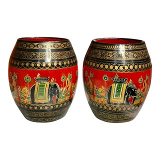 Vintage Hand Painted Red Lacquer Indian Elephant Jardiniere Planter - a Pair For Sale