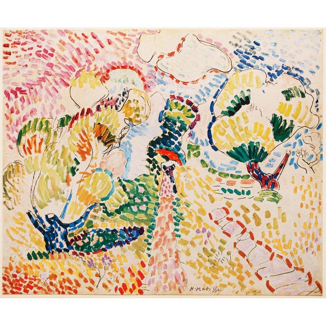 A beautiful original period tipped-in offset lithograph after painting Les Oliviers (The Olives) by Henri Matisse. Signed...