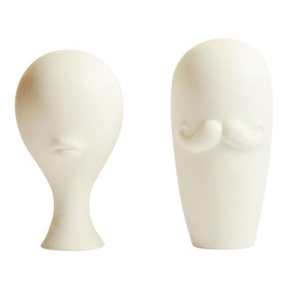 Jonathan Adler Mr & Mrs Porcelain Vases - Set of 2 For Sale