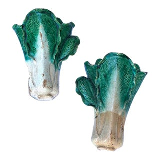 19th Century French Majolica Wall Pots - a Pair For Sale
