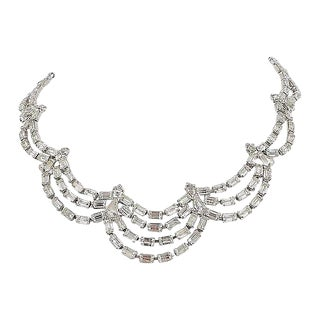1950s Kramer of Ny Rhinestone Festoon Necklace For Sale