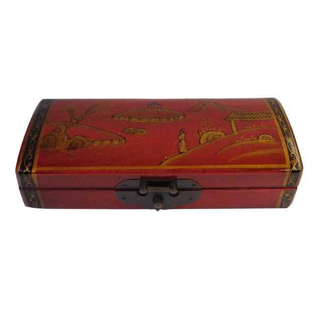 Chinese Oriental Red Rectangular Box For Sale
