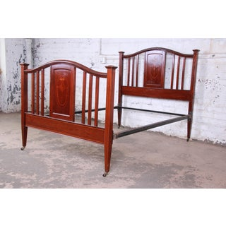 Antique English Arts & Crafts Style Inlaid Mahogany Queen or Full Size Bed Frame Preview