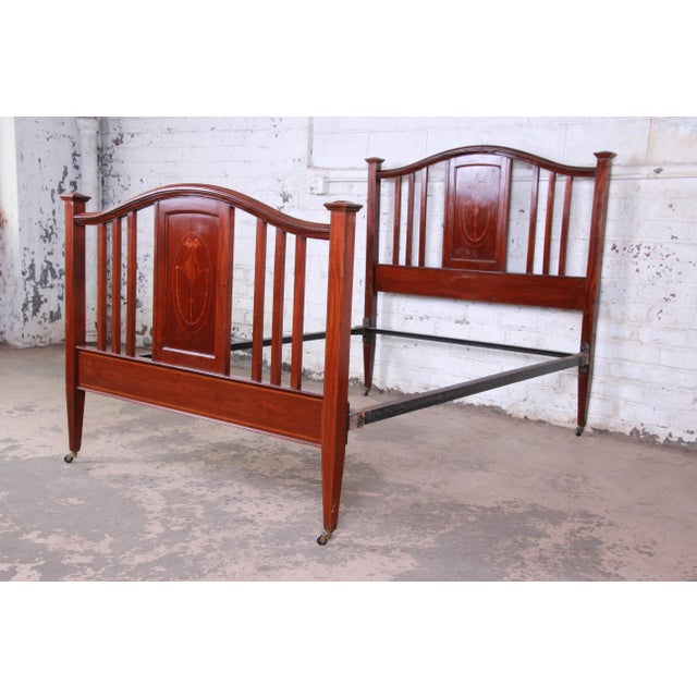 quality design fdc4c 6e0f0 Antique English Arts & Crafts Style Inlaid Mahogany Queen or Full Size Bed  Frame