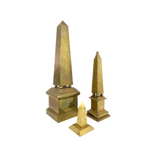 Vintage Italian Neoclassical Brass Obelisk Decorator Art Statues - Set of 3 For Sale