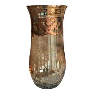 Bohemian Gilt & Garland Glass Vase