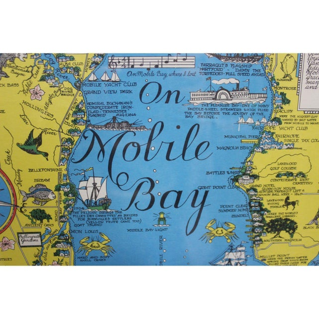 Vintage Map 'On Mobile Bay' by Marion Ackes - Image 2 of 6