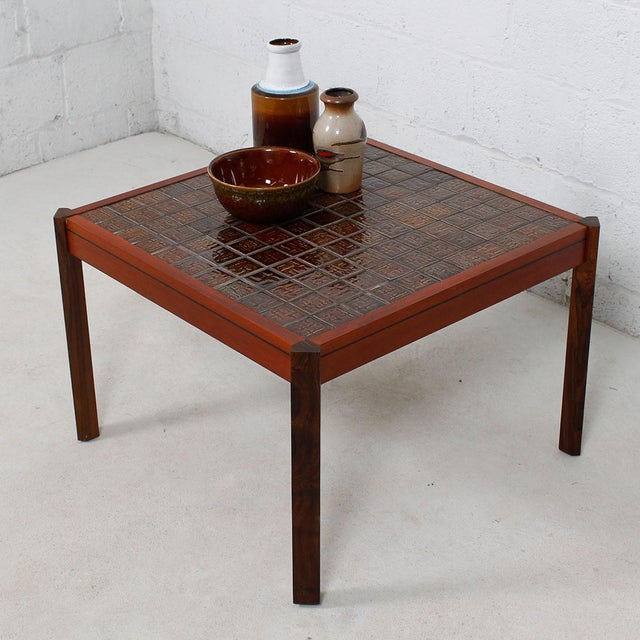 Danish Modern Danish Modern Accent Table with Tile Top For Sale - Image 3 of 8