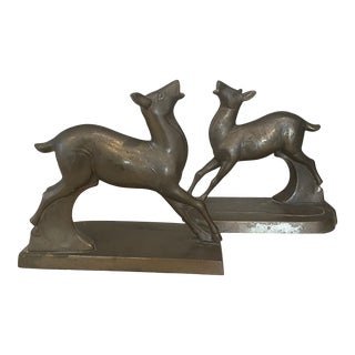 Antique Brass Fawn Bookends - a Pair For Sale