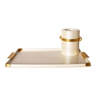 Resin & 24k Gold Plated Bar Tray and Wine Chiller C. 1970 - 2 Pc. Set For Sale