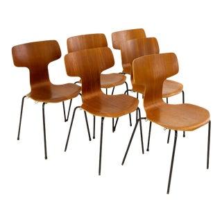 Vintage Arne Jacobsen for Fritz Hansen Model No. 3103 Teak Hammer Chairs- Set of 6 For Sale