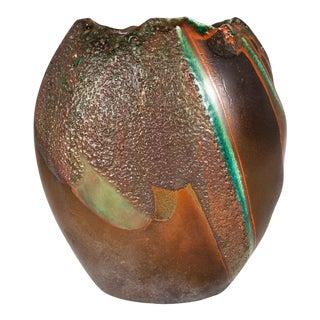 Late 20th Century Tony Evans Raku Pottery Vase For Sale
