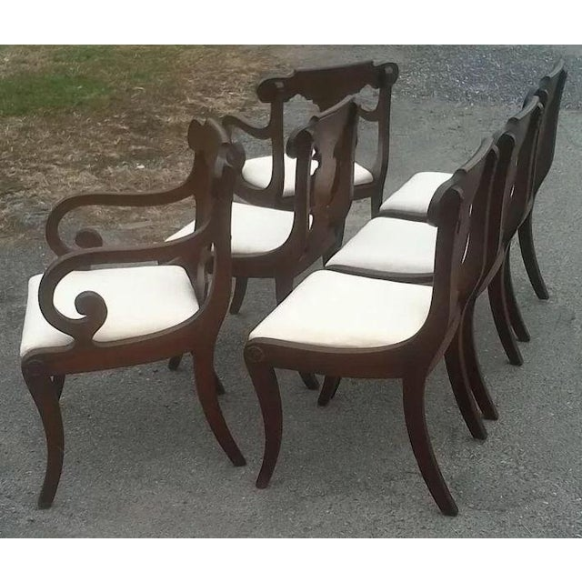 Wood Regency Dining Chairs With Scrolled Arm - Set of 6 For Sale - Image 7 of 12