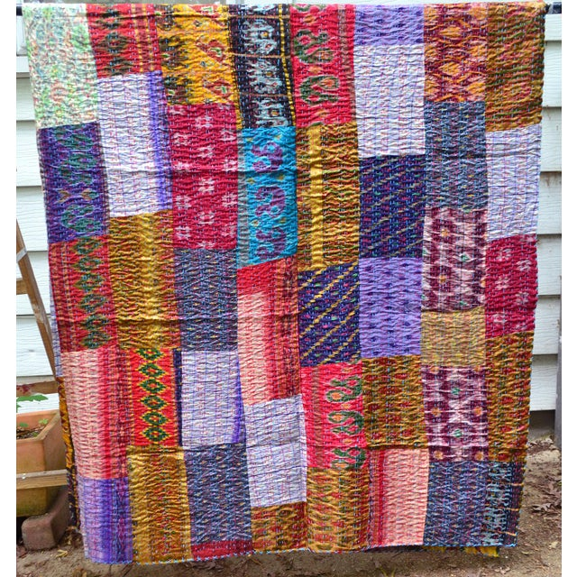 Handmade Woven Silk Sari Pieces Kantha Quilt - Image 8 of 8