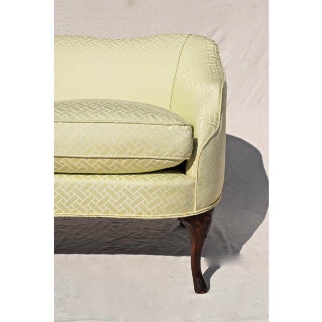 Wood Curved Camel Back Demi Settee For Sale - Image 7 of 14