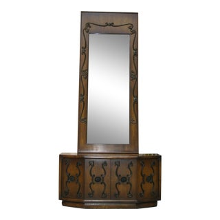 Vintage Spanish Revival Mid Century Modern Entry Table & Wall Mirror For Sale