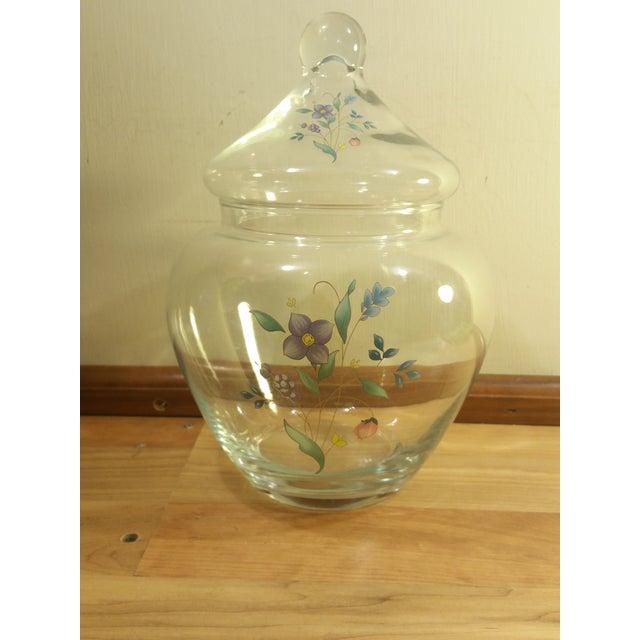Clear Glass Floral Design Lidded Jar - Image 4 of 6