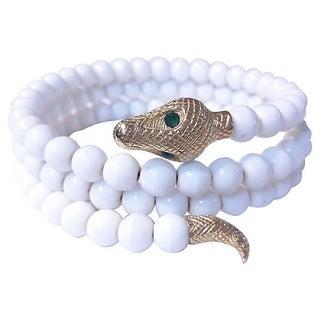 Glass Bead Memory Wrap Snake Bracelet