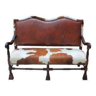 Antique Mahogany Cowhide & Leather Sofa Couch Settee 1920s For Sale