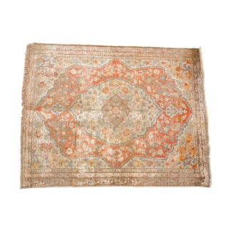 "Antique Silk Tabriz Rug Mat - 2'2"" X 2'9"" For Sale"