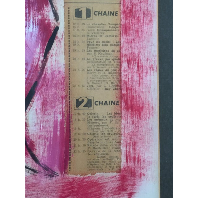 Dark Pink 1960s Vintage Francois Paris Girl and Boy Portraits Mixed Media Paintings - A Pair For Sale - Image 8 of 13
