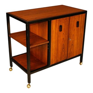 Mid Century Modern Danish Rosewood Rolling Bar Cart Cabinet For Sale