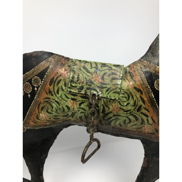 1970s Vintage Folk Art Hand-Painted Metal Rocking Horse For Sale - Image 4 of 5