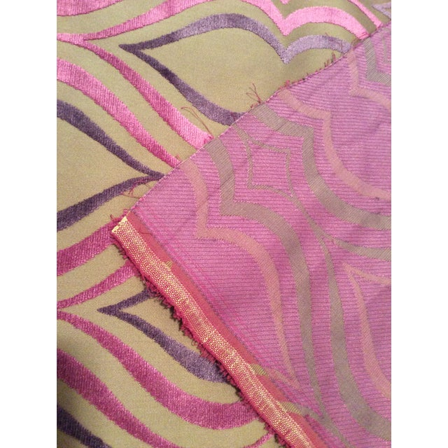 Designers Guild Tan, Pink & Purple Cut Velvet Fabric- 4 Yards - Image 5 of 5